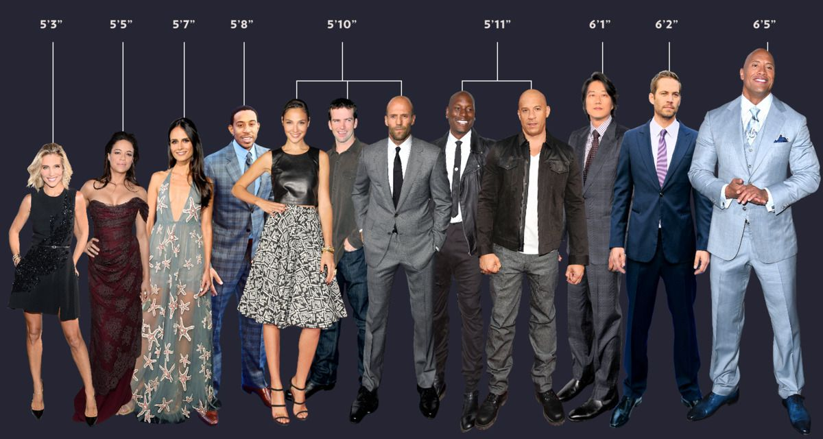 The True Height Of Fast And Furious Actors In One Helpful Graphic Fast And Furious Actors Fast And Furious Cast Movie Fast And Furious