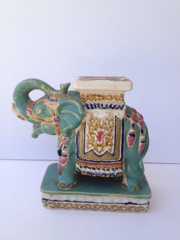 Vintage Oriental Ceramic Elephant Plant Stand Figure