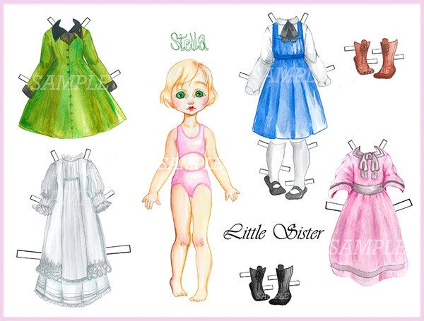 Little Sister Paper Doll Dress Up Sample By XoOrangeart