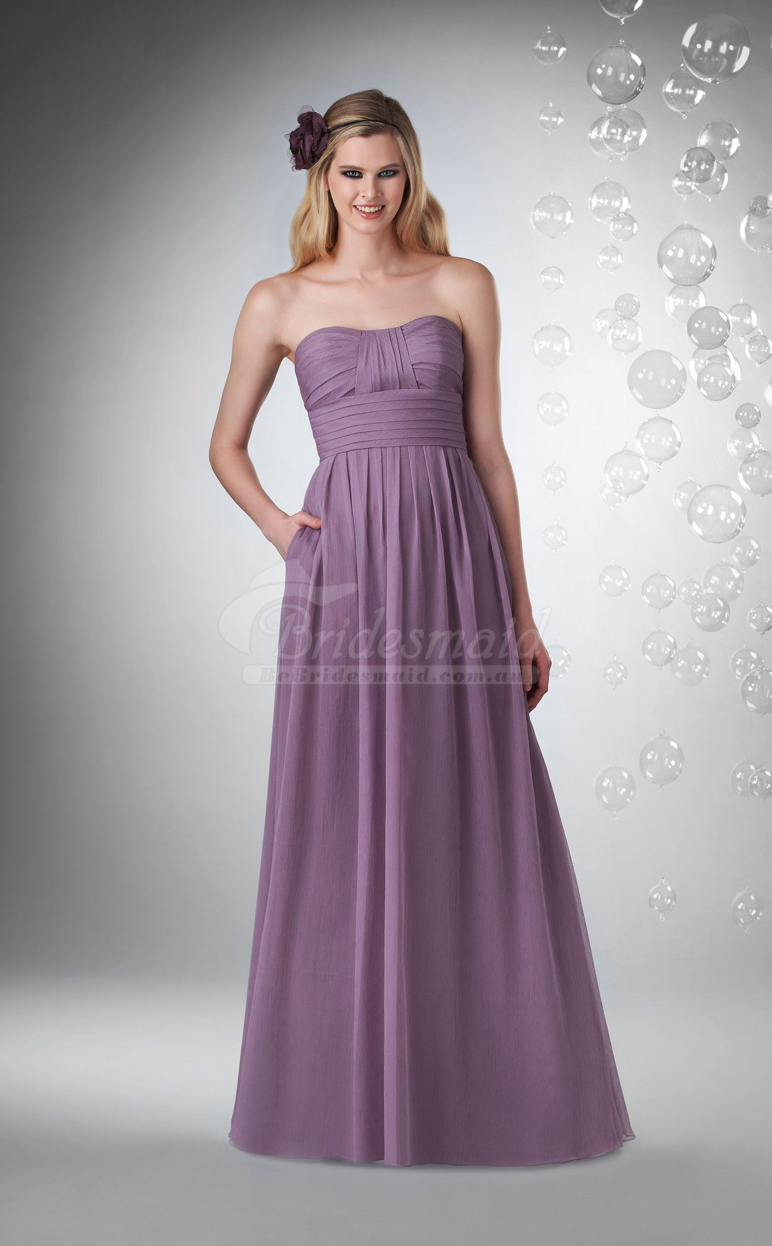 A Line Long Sleeveless Bridesmaid Dresse,Purple Bridesmaid Dresses ...
