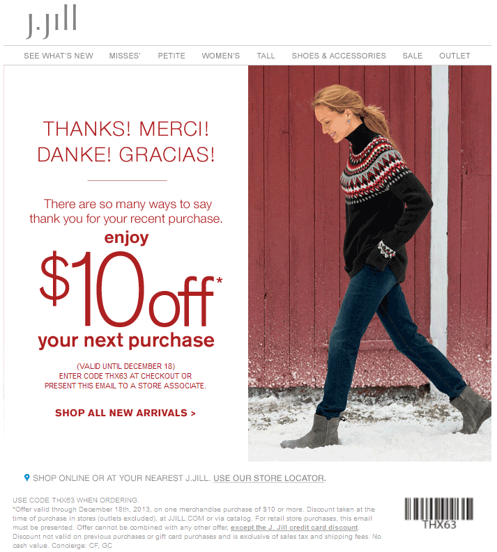 photo about Jjill Printable Coupon named Pinned December 1st: $10 off $10 at J.#Jill, or on the net through