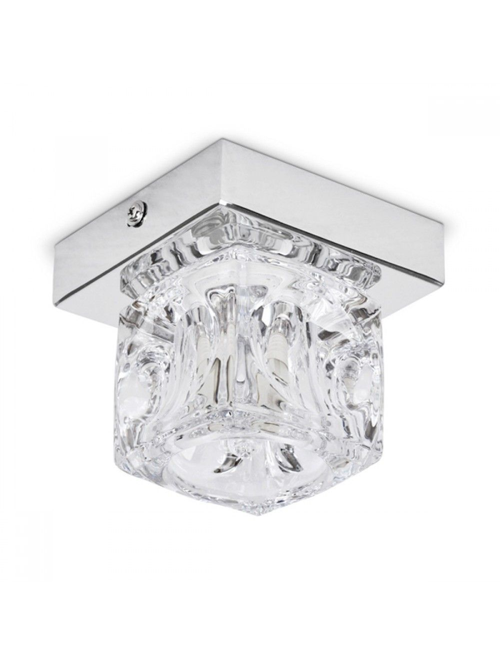Single Ice Cube Style Metal Spotlight in Chrome with Glass