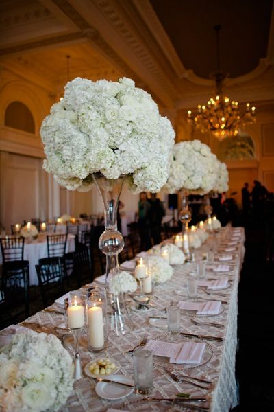 Tall Hydrangea Centerpiece Cost : Dramatic tall centerpieces neutral wedding details