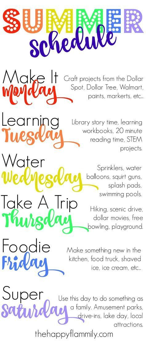 Great summer schedule you can use every week to keep your kids active. #kidsactivities #summer #summeractivities #summerschedule