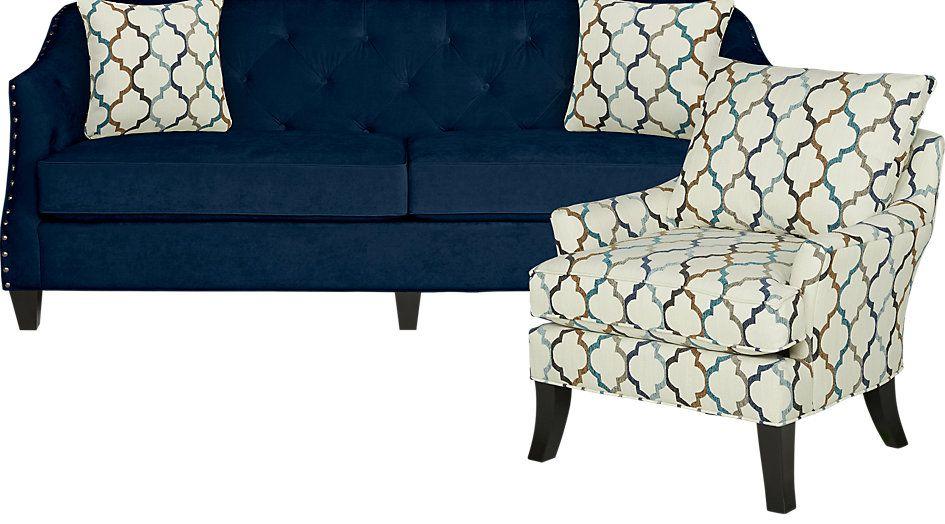 Excellent Sofia Vergara Monaco Court Navy 2 Pc Living Room Alabama Creativecarmelina Interior Chair Design Creativecarmelinacom