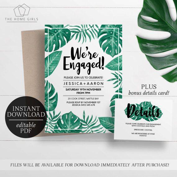 Printable Engagement Invitation Palm Leaf Editable  Engagment