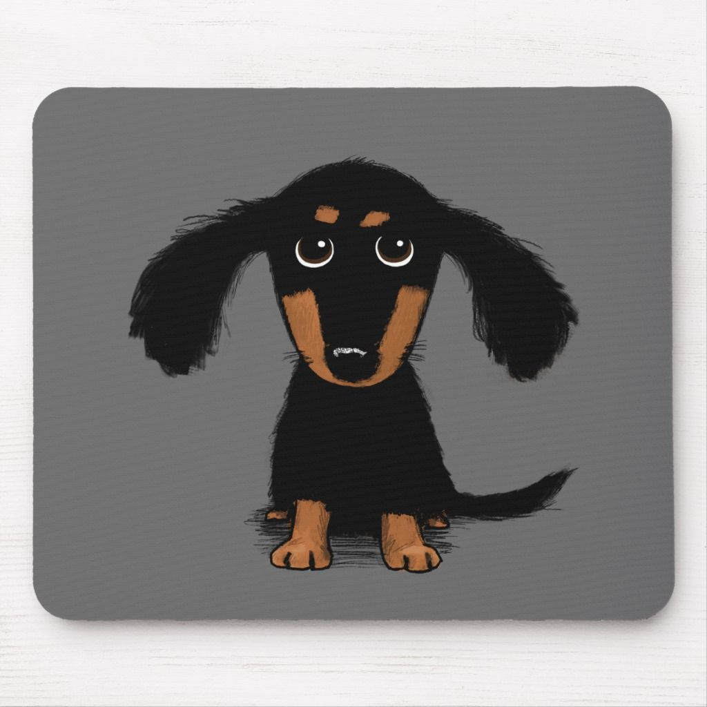 Long Haired Dachshund Puppy Cute Dog Cartoon Mouse Pad Zazzle