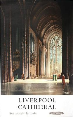 1960/'s British Rail Liverpool Cathedral Railway Poster A3 Print