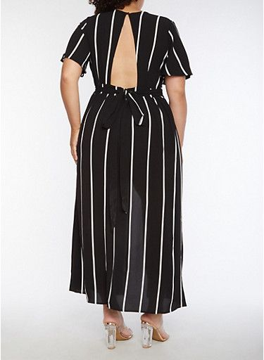 cc83c4aa5651 Plus Size Striped Romper with Maxi Skirt Overlay