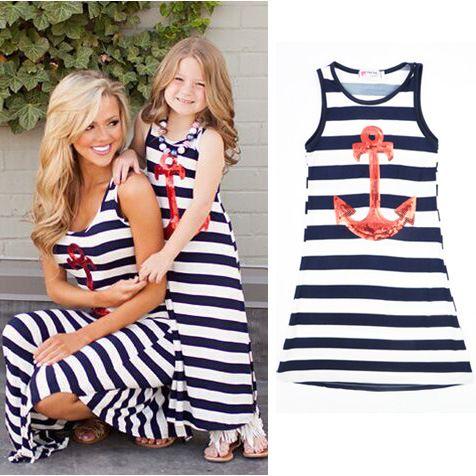 5ac173106621e2 Goedkope Kinderen moeder en dochter gestreepte boot anker meisje strand jurk