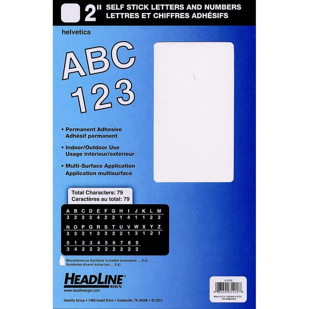 Headline Sign 2 Inch White Stick On Vinyl Letters Numbers White Afflink Vinyl Lettering Letters And Numbers Stick Letters