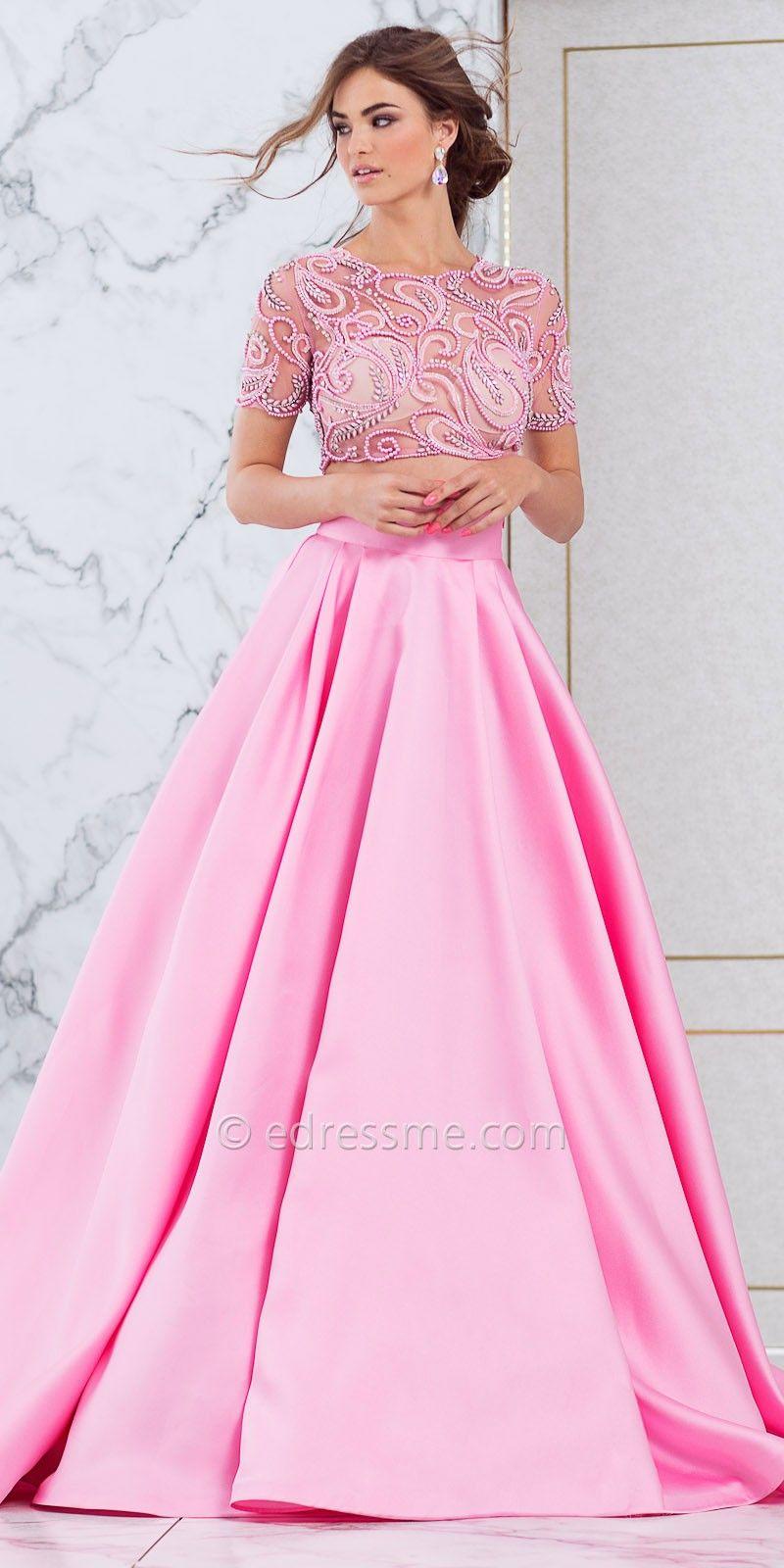 Two Piece Rhinestone Embellished Ball Gown by Tarik Ediz Prom ...