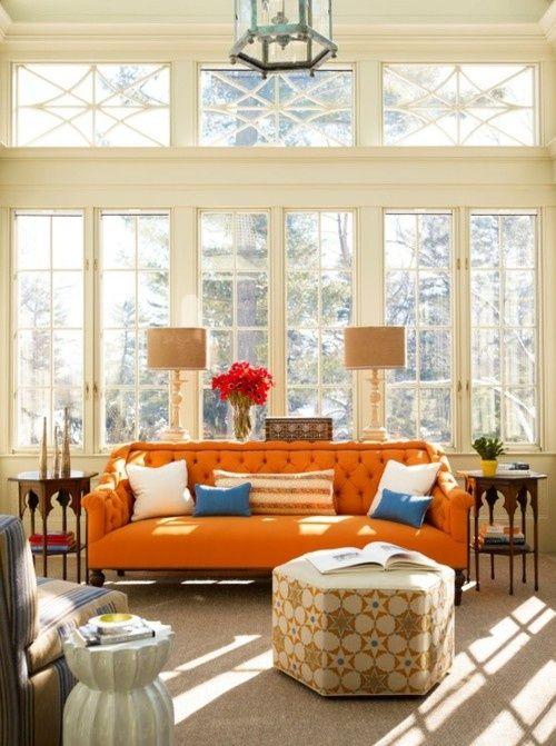 Orange Sofa Home Eclectic Living Room Orange Sofa
