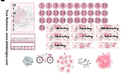 True Romance, Planner Calendar Sticker Kit 6 sheets on matte removable. Erin Condren and Happy Planner sizes. Kiss cut, just peel and stick.
