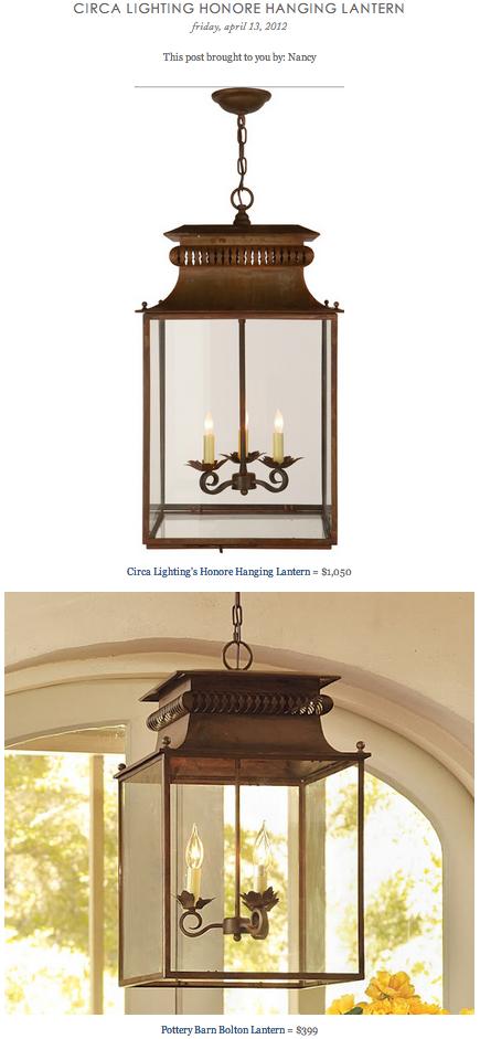 Circa Lighting Honore Hanging Lantern Vs Pottery Barns Bolton