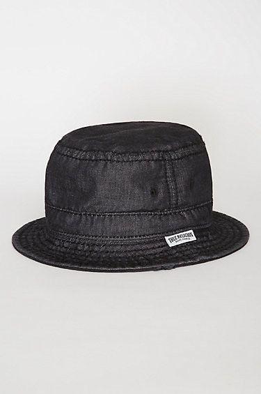 e3f5c9b0574 True Religion Men s Reversible Denim Distressed Bucket Hat