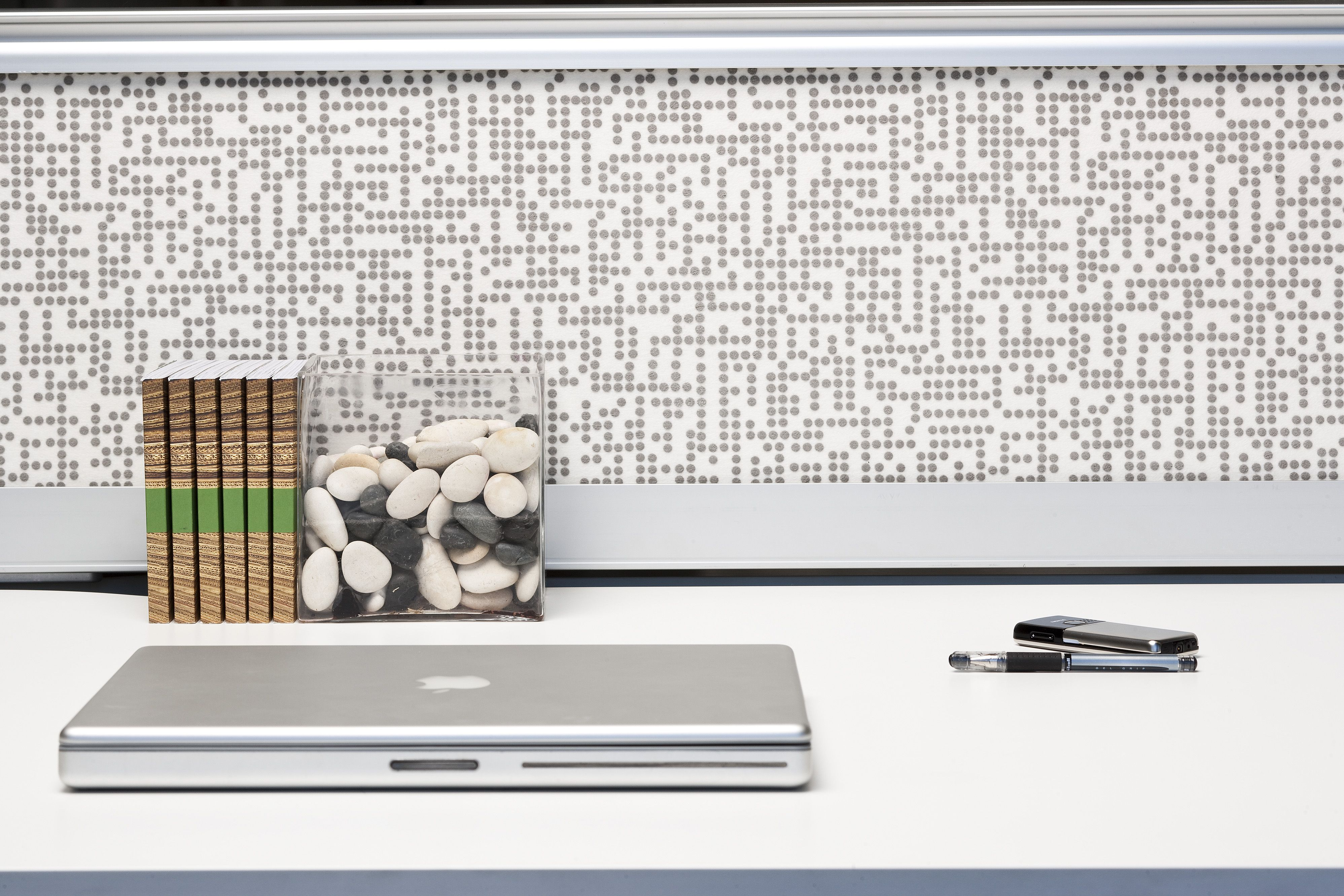 Kirei echopanel geometric tiles building for health - Echopanel Puzzle 12mm Thick Acoustic Panels Inserted Into A Workstation Screen Creates Privacy Peace And