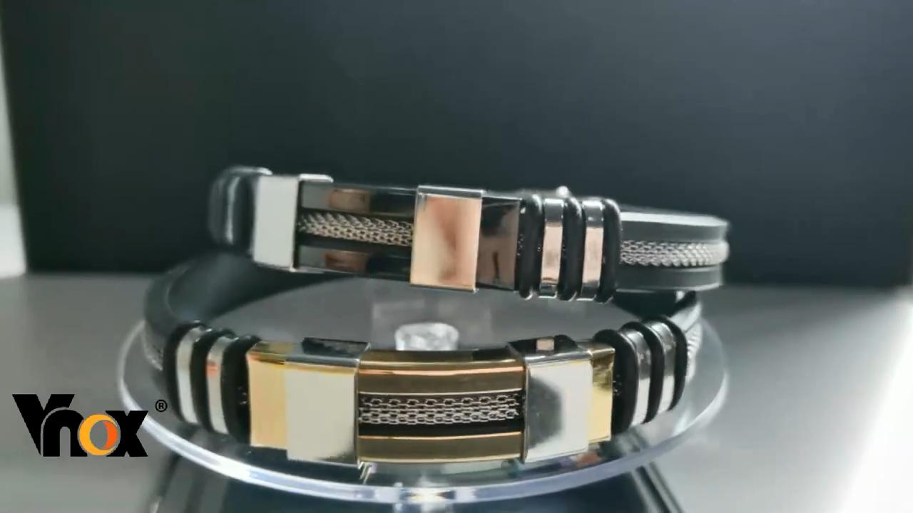 Us 5 38 Vnox Stainless Steel Bracelet Men Wrist Band Black Grooved Rudder Silicone Mesh Link Insert Punk Wristband Stylish Casual Bangle Chain Link Bracelet Video Video Stainless Steel Bracelet Men Bracelets