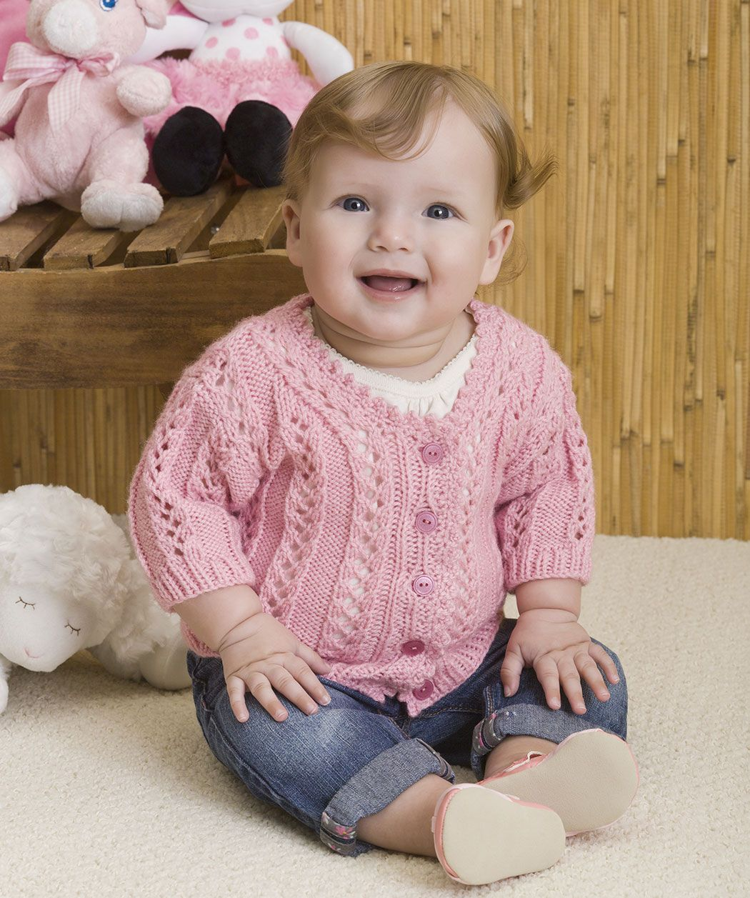 Baby Girl\'s Sweater free knitting pattern from Red Heart | Knitting ...