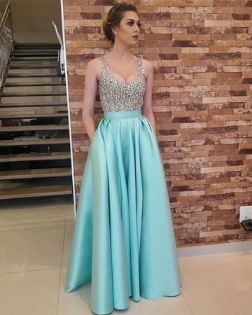 Charming Crystal Beading Prom Dress, Floor Length Long   Trendy ...