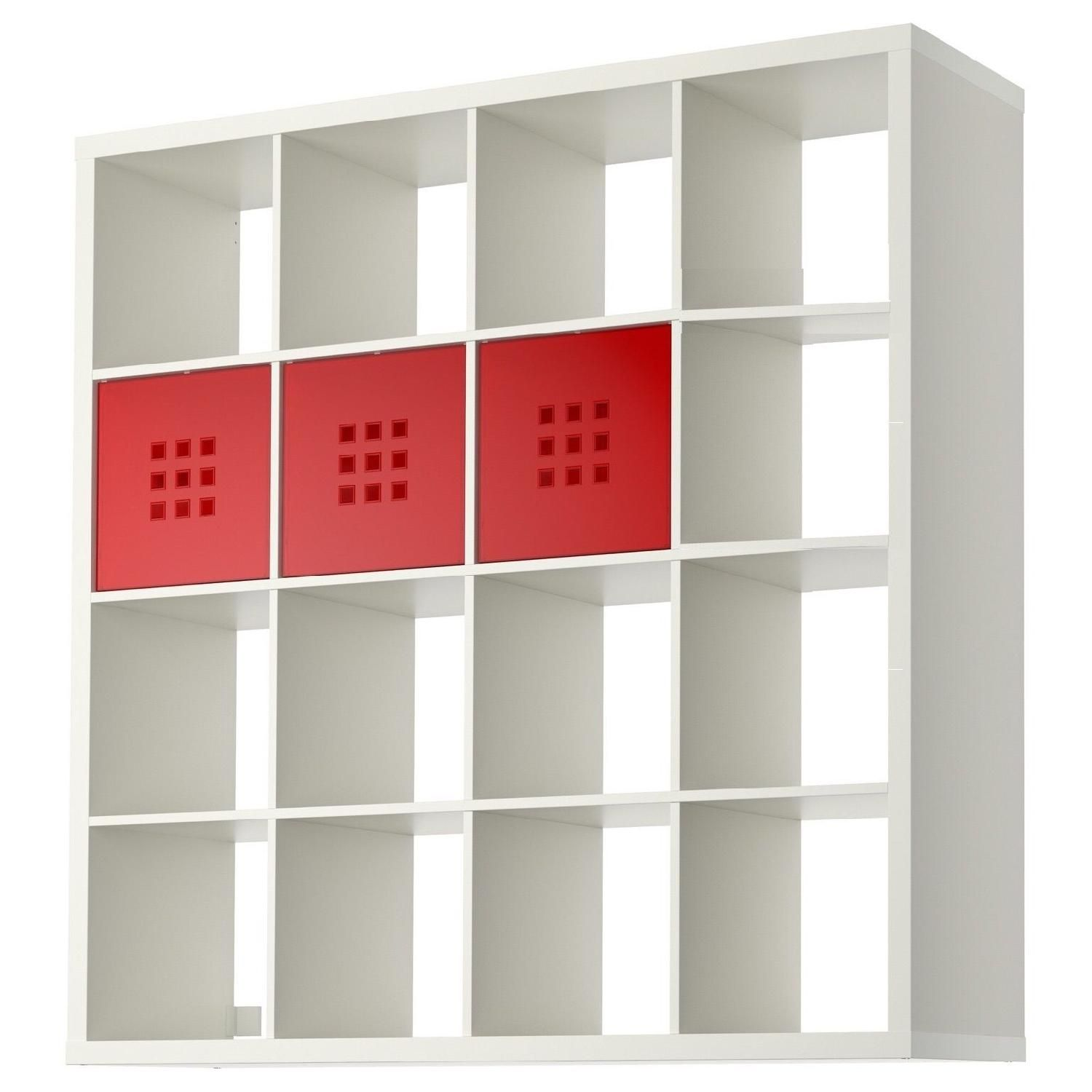 Ikea Expedit Shelf Unit In Glossy White W 3 Red Drawers  # Ikea Etegere Cube Modulo Bois