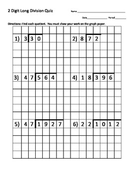 Long Division Quiz (2 Digit Divisor) w/ Graph Paper (With ...