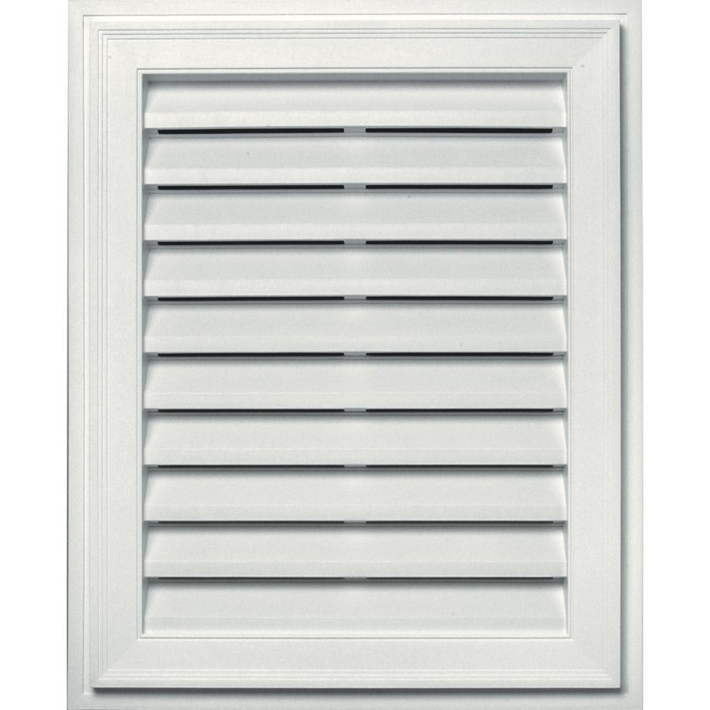 Builders Edge 26 2 In X 32 2 In Rectangular White Plastic Built In Screen Gable Louver Vent 120072430001 The Home Depot In 2020 Gable Vents Builders Edge Brick Molding