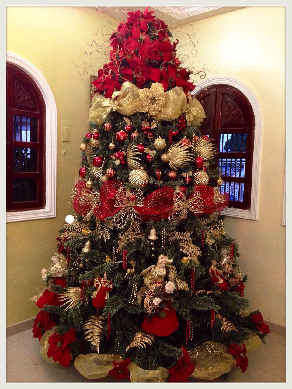 Imagen arboles de navidad rojo y dorado del art culo - Arboles de navidad artificiales decorados ...