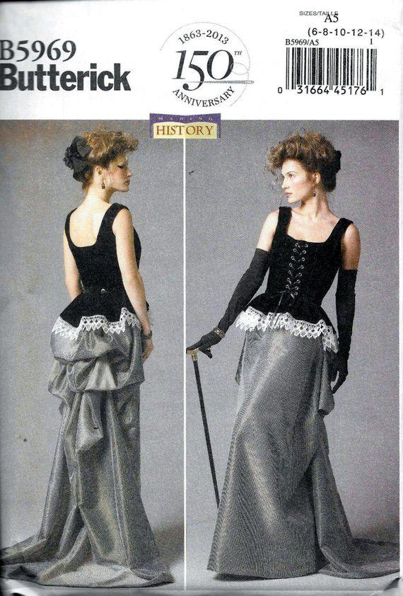 Butterick 5969 Misses' Steampunk Costume Corset Skirt Bustle