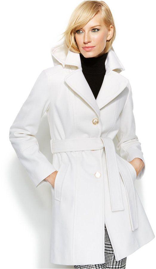 MICHAEL Michael Kors Hooded Belted Wool-Blend Coat ON SALE
