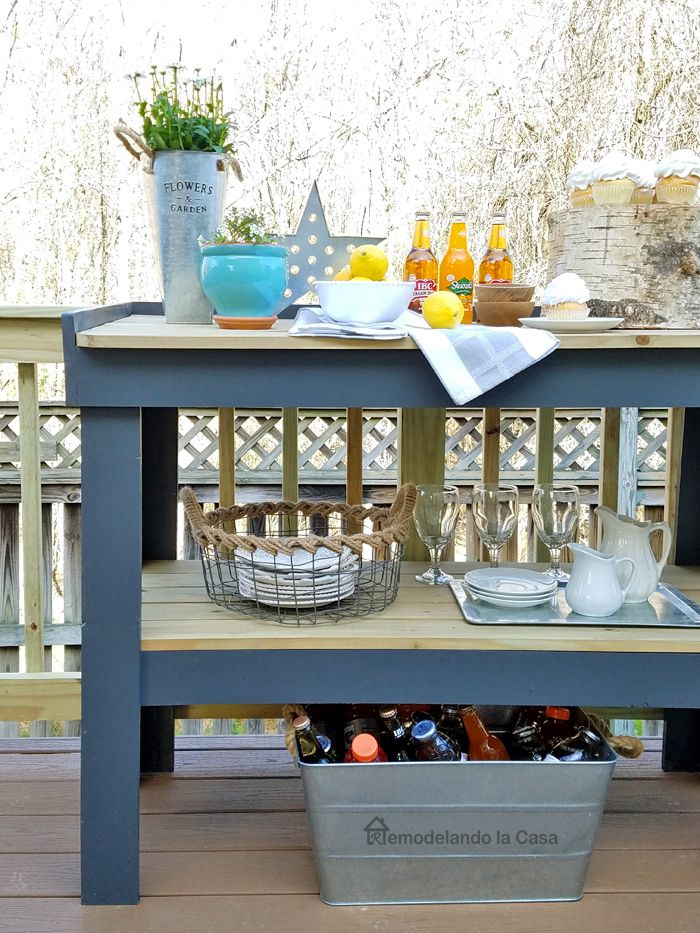 Diy Outdoor Serving Cart Tutorial With Cut List And Directions For Kreg Construction