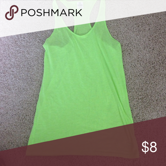 PINK neon green tank Size large neon green tank. Great for workouts or lounging PINK Victoria's Secret Tops Tank Tops