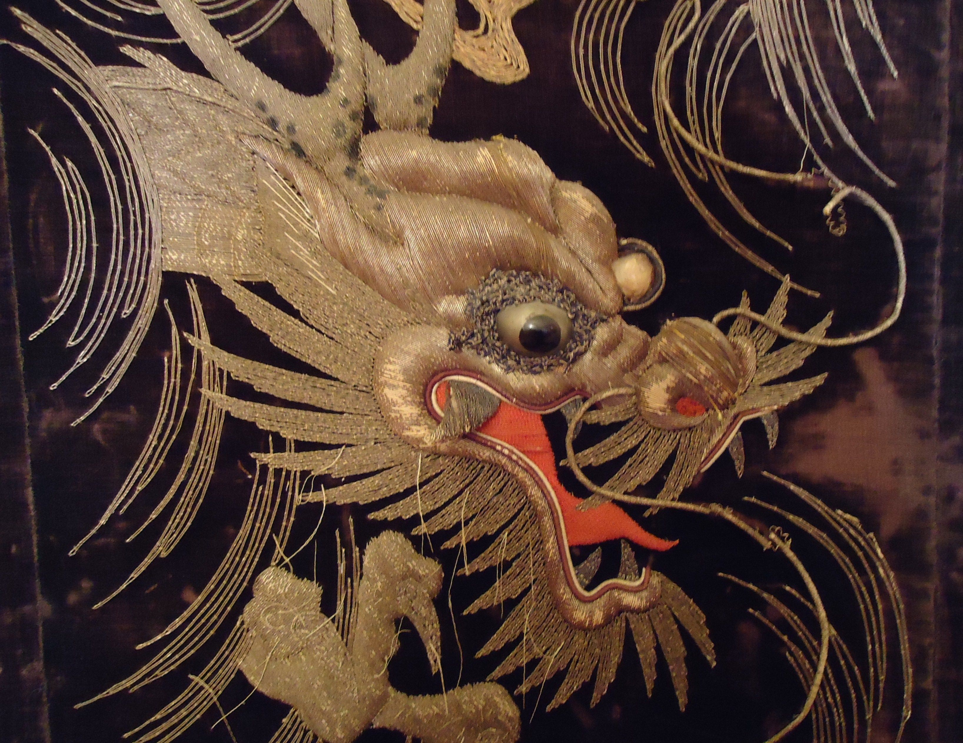 Antique Chinese Embroidery over black velvet