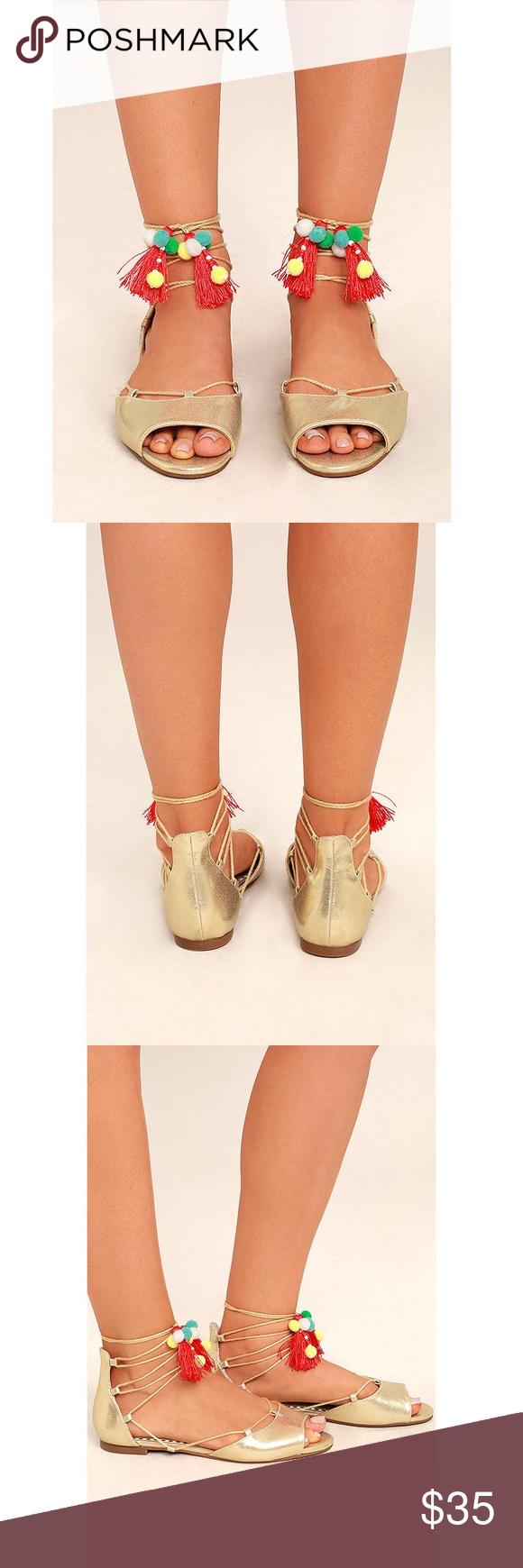 4060cd5147d Betsey Johnson Abree Gold Lace-Up Pompom Sandals -Brand new -Metallic gold  vegan