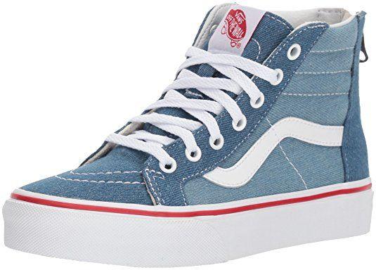 95650201fb Vans Sk8 Hi Zip Toddler Shoes 5.5 M US Toddler (Denim 2-Tone) Blue True  White