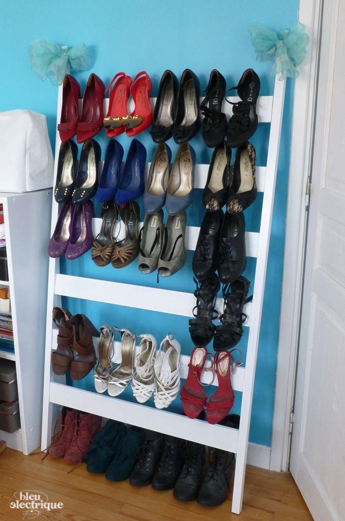 Chelle rangement chaussures d co maison pinterest Rangement a faire soi meme