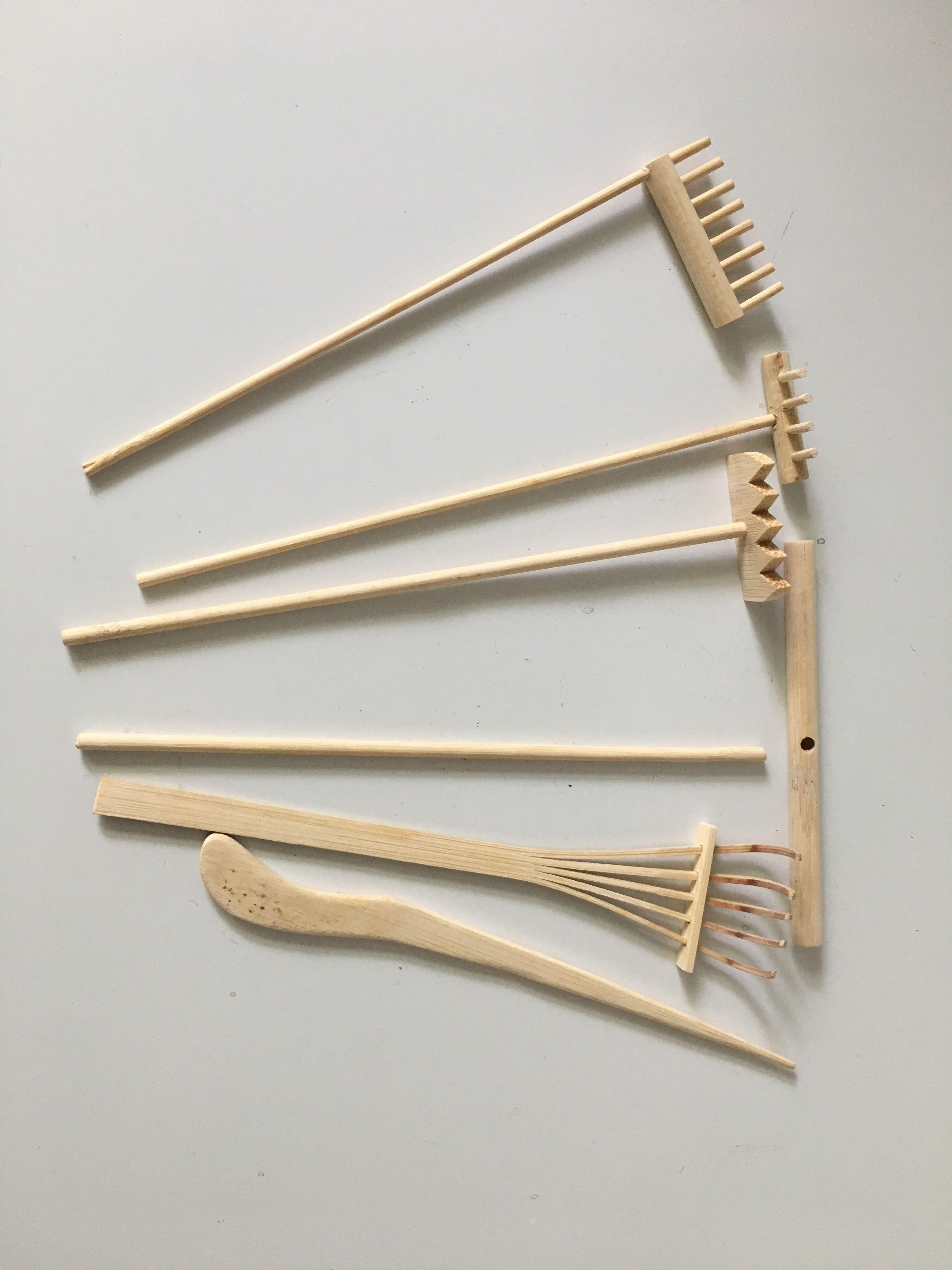 Set of 3 Mini Rake for Zen Garden Sand Tabletop Meditation Feng Shui Decor