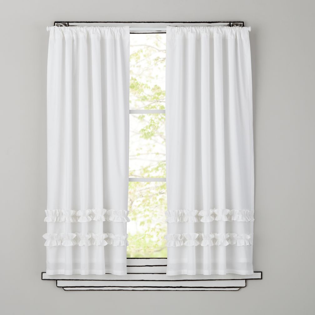 Shop Kids Curtains Kids White Ruffle Curtain Panels Our Yellow