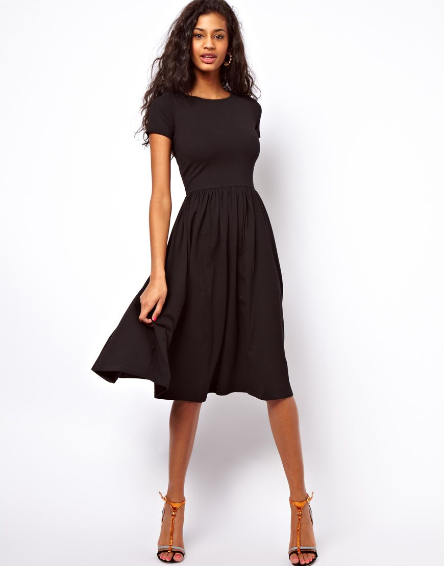 ASOS Midi Dress With Short Sleeves. The perfect black dress ... e0b8eb008