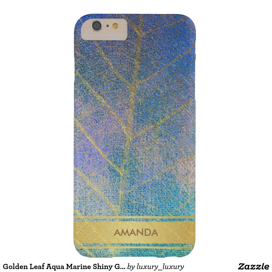 Golden Leaf Aqua Marine Shiny Glam Minimimalism Barely There iPhone 6 Plus Case