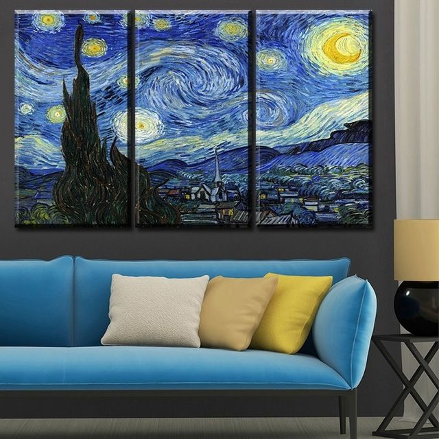 Us 9 63 44 Off Canvas Painting Home Decor Wall Art Living Room No Frame Starry Night Wall Painting Vincent Willem Van Gogh Printed Wall Van Gogh Print Canvas Starry Night Painting Starry Night
