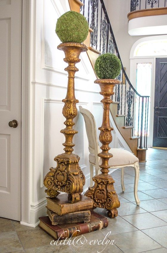 A Grand Foyer The Transformation Edith Evelyn Vintage Floor Candle Holders Tall Floor Candle Holders Large Floor Candle Holders