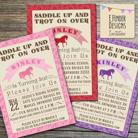 Modern horse themed birthday party printable invitation with paisley items similar to modern horse themed birthday party printable invitation with paisley bandanna border available in pink purple or red on etsy filmwisefo Gallery