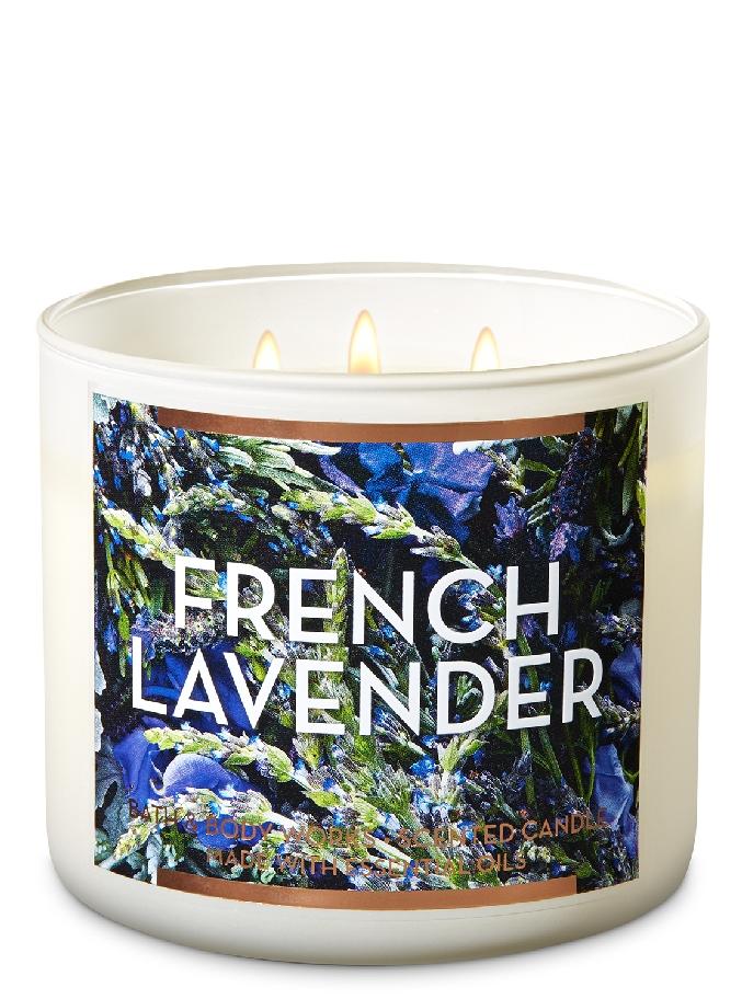شمعة معطرة بثلاث فتلات برائحة French Lavender French Lavender Bath And Body Works Bath Candles