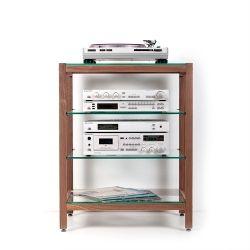 hifi rack quadra aus massivholz nussbaum mit glasb den vinyl love media rack hifi stereo