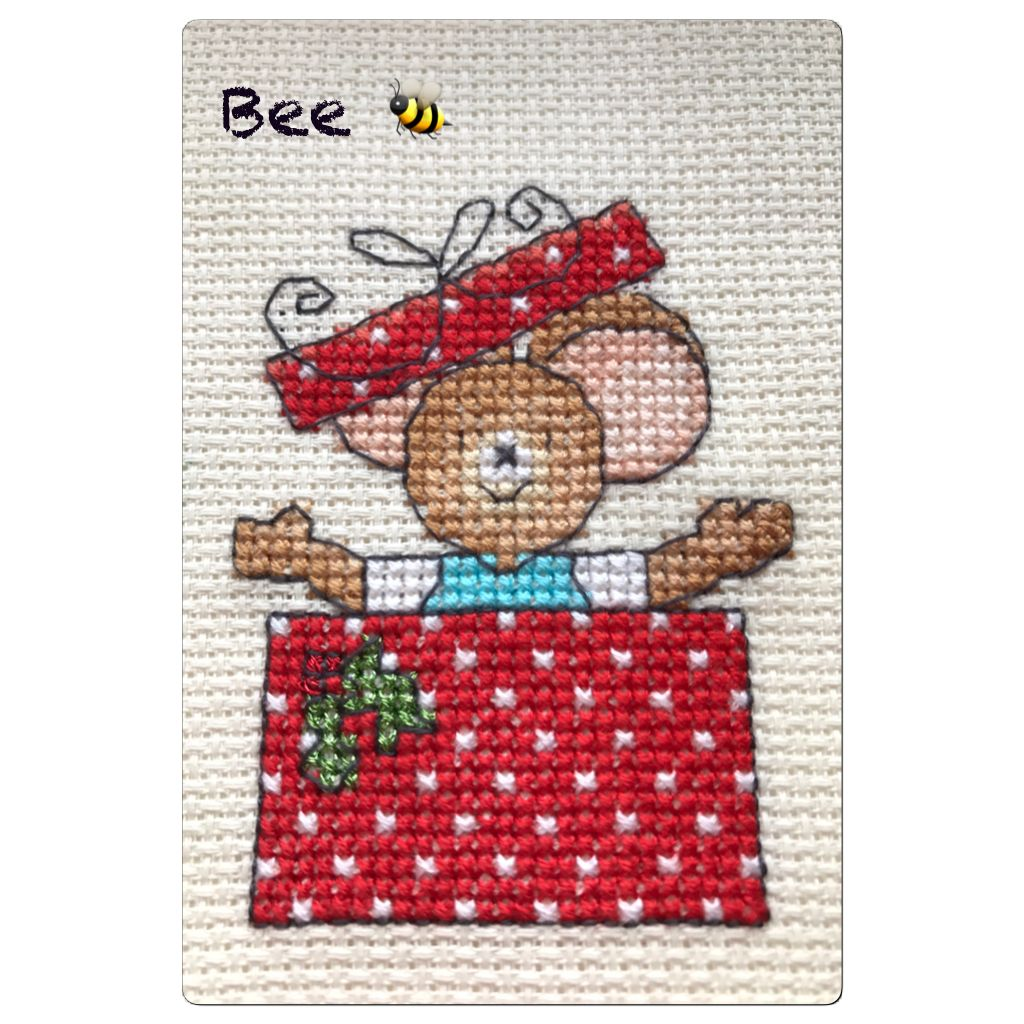 Mouse in Christmas present cross-stitch