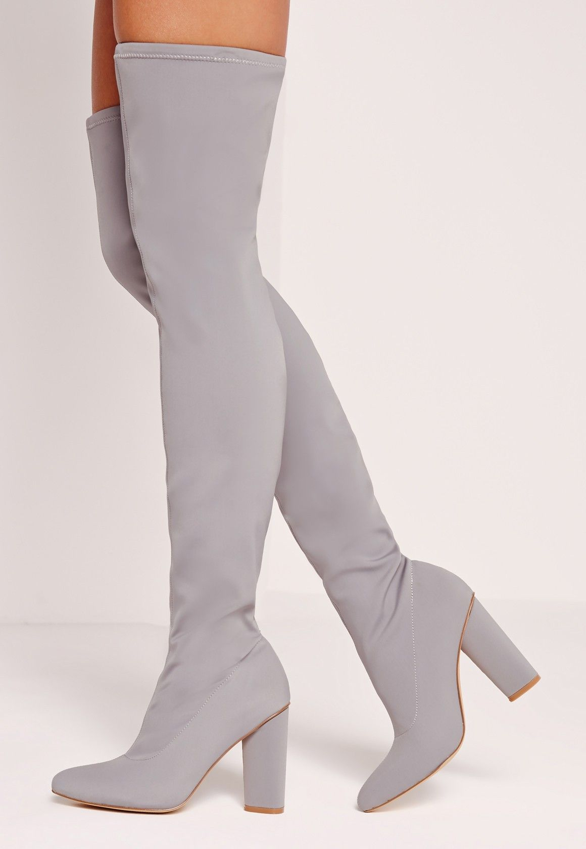 71eafc1e992 Missguided - Pointed Toe Neoprene Over The Knee Boot Grey