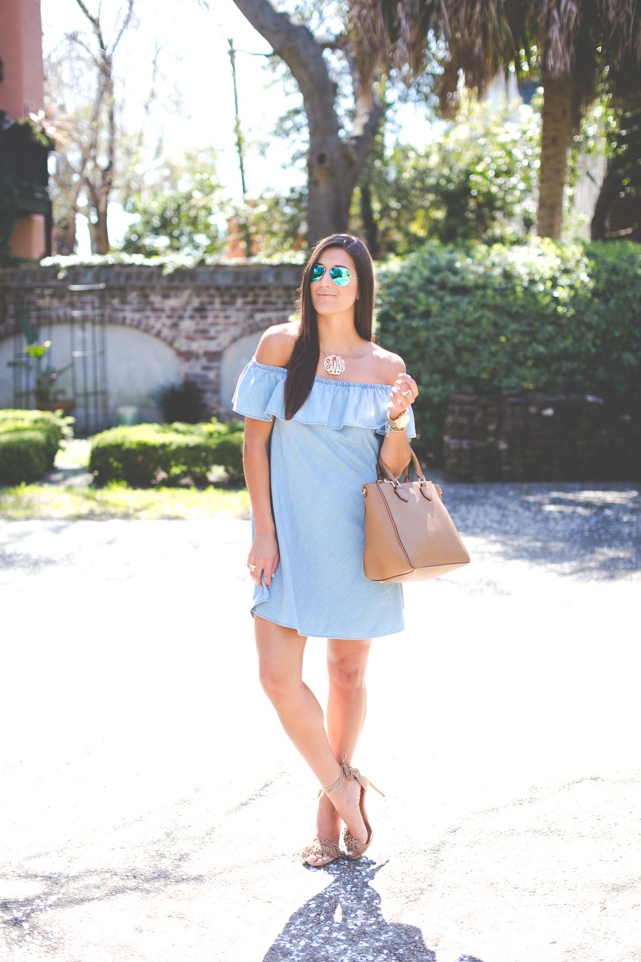 chambray off the shoulder dress | chambray outfit, gold monogram