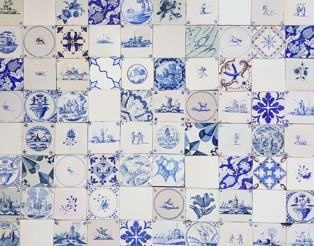 Mixed Aged Antique Dutch Wall Tiles As An Unique Backsplash Regts