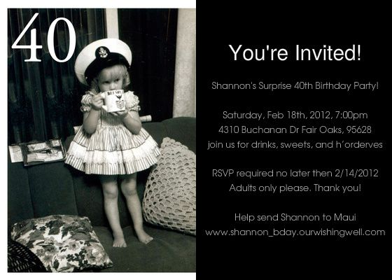 Free Printable 40th Birthday Party Invitations for Adults | 27 ...